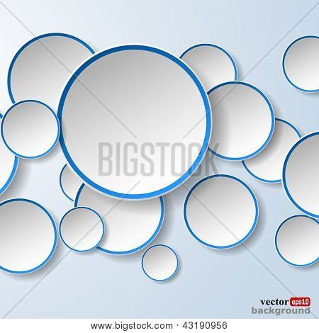 Abstract white paper speech bubbles in the shape of a circles on light blue background. Vector eps10 illustration