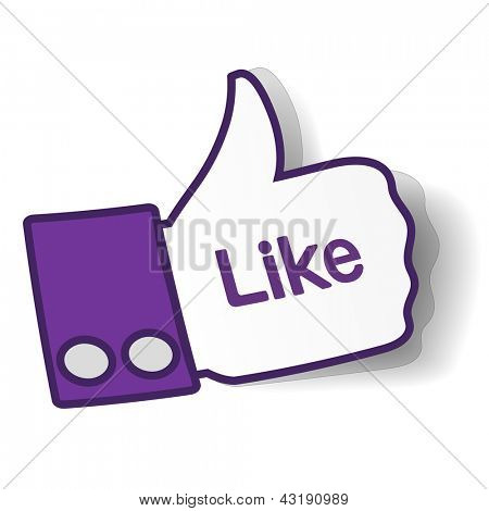 Thumbs up paper sticker used in a social networks. Vector eps10 illustration