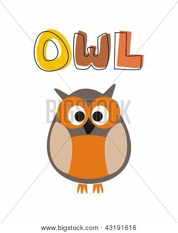 O is for owl - vector illustration with funny staring orange owl sitting under hand drawn word