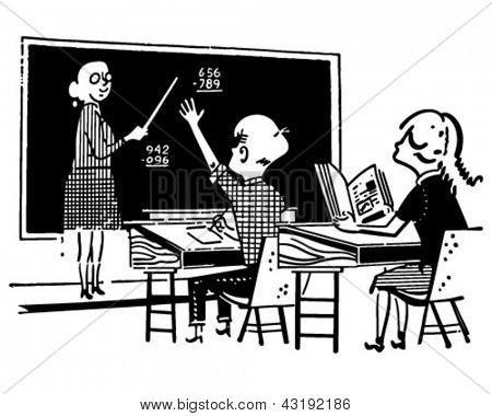Teacher And Students In Class - Retro Clip Art Illustration