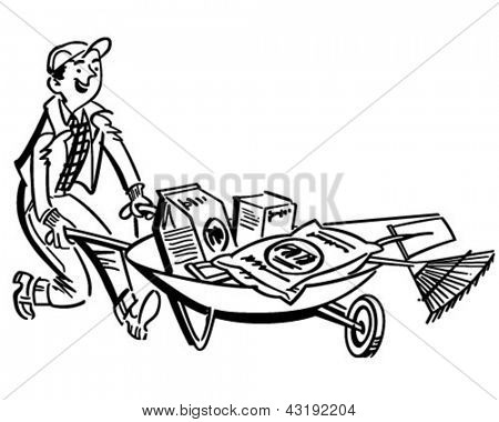 Man With Gardening Supplies - Retro Clip Art Illustration