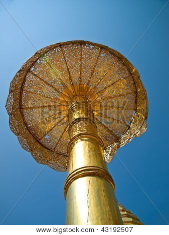 Golden Umbrella, Wat Phrathat Doi Suthep Temple In Chiang Mai, Thailand.