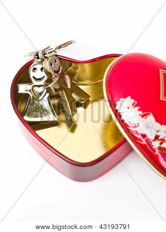 A Golden Stainless Steel Heart With A Miniature Heart Keychain Isolated On White Background