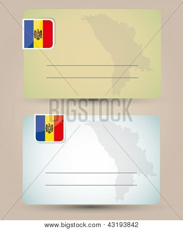 business card with flag and map of Moldova