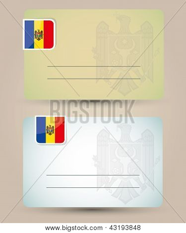business card with flag and coat of arms of Moldova