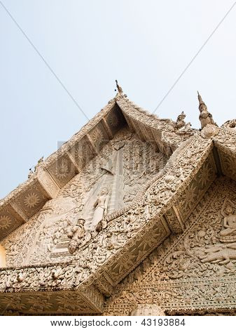 Gable White Stucco In City Pillar Shrine, Wat Mingmuaeng  Nan Thailand