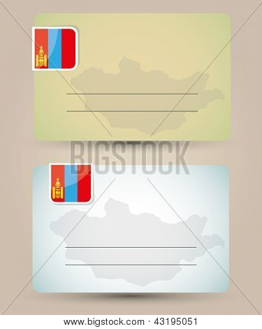 business card with flag and map of Mongolia