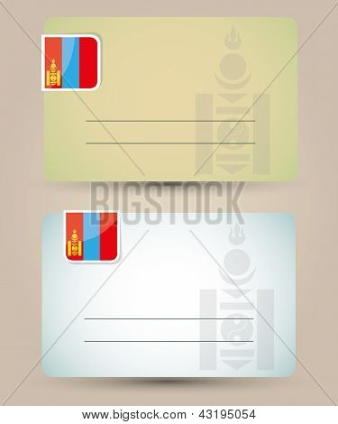 business card with flag and coat of arms of Mongolia