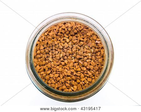 Instant Coffee In A Glass Bottle Topview Isolated On White Background