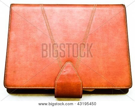 Red Brown Leather Organizer Isolated In White