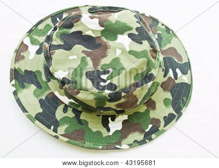 Top View Of Camouflage Hat Isolated On White Background
