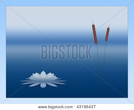 Waterlily And Two Cattail Stalks In Water