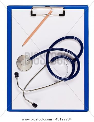 Blue medical clipboard with stethoscope isolated on white