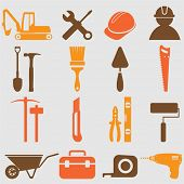 stock photo of hammer drill  - Worker tools icons  - JPG