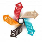 image of main idea  - Five directions arrows design template - JPG