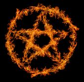 image of pentagram  - orange flame pentagram isolated on black background - JPG