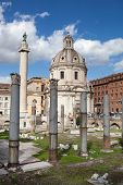 Ruins of Roman Forum, Trajan's column in Rome