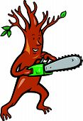 foto of arborist  - Illustration of tree man arborist tree surgeon lumberjack holding chainsaw done in cartoon style - JPG