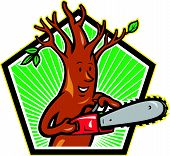 image of arborist  - Illustration of tree man arborist tree surgeon lumberjack holding chainsaw done in cartoon style - JPG