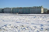 foto of winter palace  - Winter Palace and frozen Neva River at winter St - JPG