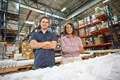 stock photo of dispatch  - Portrait Of Factory Worker And Manager On Production Line - JPG