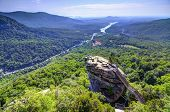 stock photo of chimney rock  - Chimney Rock at Chimney Rock State Park in North Carolina - JPG