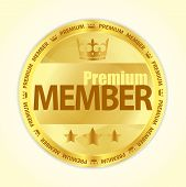 picture of first class  - Badge with title Premium member image of crown and three golden stars - JPG