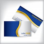 picture of hexagon pattern  - Gold wave with blue hexagon pattern business card design - JPG