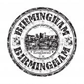 picture of west midlands  - Black grunge rubber stamp with the name of Birmingham city from England written inside the stamp - JPG