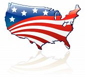 stock photo of usa flag  - Glossy USA flag and map - JPG