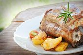 picture of beef shank  - Delicious roasted and baked Veal knuckle with potatoes - JPG