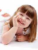 pic of smiley face  - Lovely girl laughing on a white background - JPG