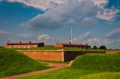 stock photo of revolutionary war  - Seen here are summer storm clouds over Fort McHenry - JPG