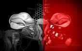 picture of fimbriae  - Digital illustration of  Uterus  in  colour  background - JPG