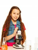 Brunet Girl With Microscope
