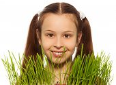 image of teen pony tail  - Dark hair girl and spring grass in front of her smiling with pony tails - JPG