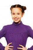 foto of teen pony tail  - Very happy smiling brunet 10 years old girl close portrait standing isolated on white holding her hands on waist - JPG