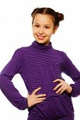 picture of teen pony tail  - Super happy smiling brunet 10 years old girl standing isolated on white holding her hands on waist - JPG