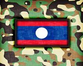 image of ami  - Amy camouflage uniform with flag on it Laos - JPG