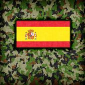 picture of ami  - Amy camouflage uniform with flag on it Spain - JPG