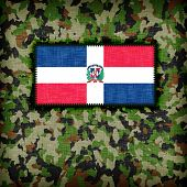 stock photo of ami  - Amy camouflage uniform with flag on it The Dominican Republic - JPG