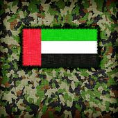 stock photo of ami  - Amy camouflage uniform with flag on it UAE - JPG
