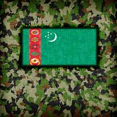 stock photo of ami  - Amy camouflage uniform with flag on it Turkmenistan - JPG