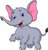 pic of tusks  - Vector illustration of cute elephant cartoon dancing - JPG