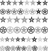 foto of pentagram  - set of a pentagrams  - JPG
