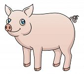 stock photo of pot-bellied  - An Illustration featuring a cute cartoon pig - JPG