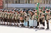 Innsbruck, Austria - April, 21, 2012: People In Tirol Traditional Dresses At Event In The Center Of