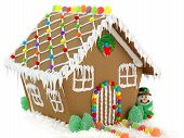 stock photo of ginger bread  - Gingerbread House and Snowman on the White Background - JPG