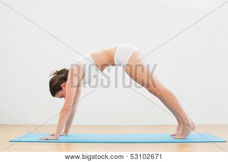 Full length side view of a sporty young woman doing the Downward Facing Dog pose on exercise mat