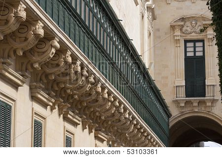 Detail Of Grandmasters Palace In Valletta, Malta